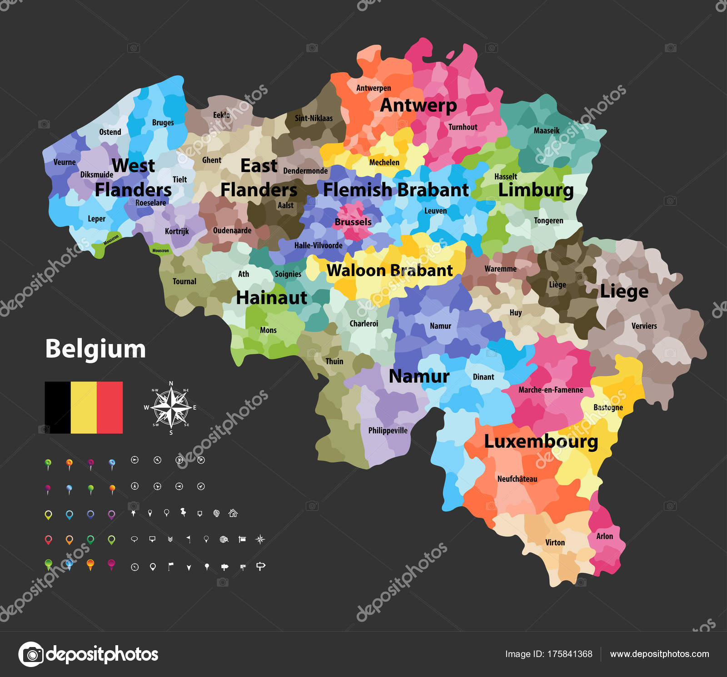 Belgium Vector Map Showing Provinces Administrative Subdivisions