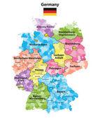 Fotografie Bundesländern und Bezirken farbige Vektorkarte