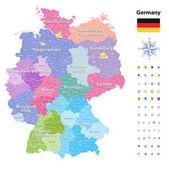 Fotografie Deutschland-Vektorkarte (farbige von Staaten und Verwaltungsbezirke) mit Unterteilungen