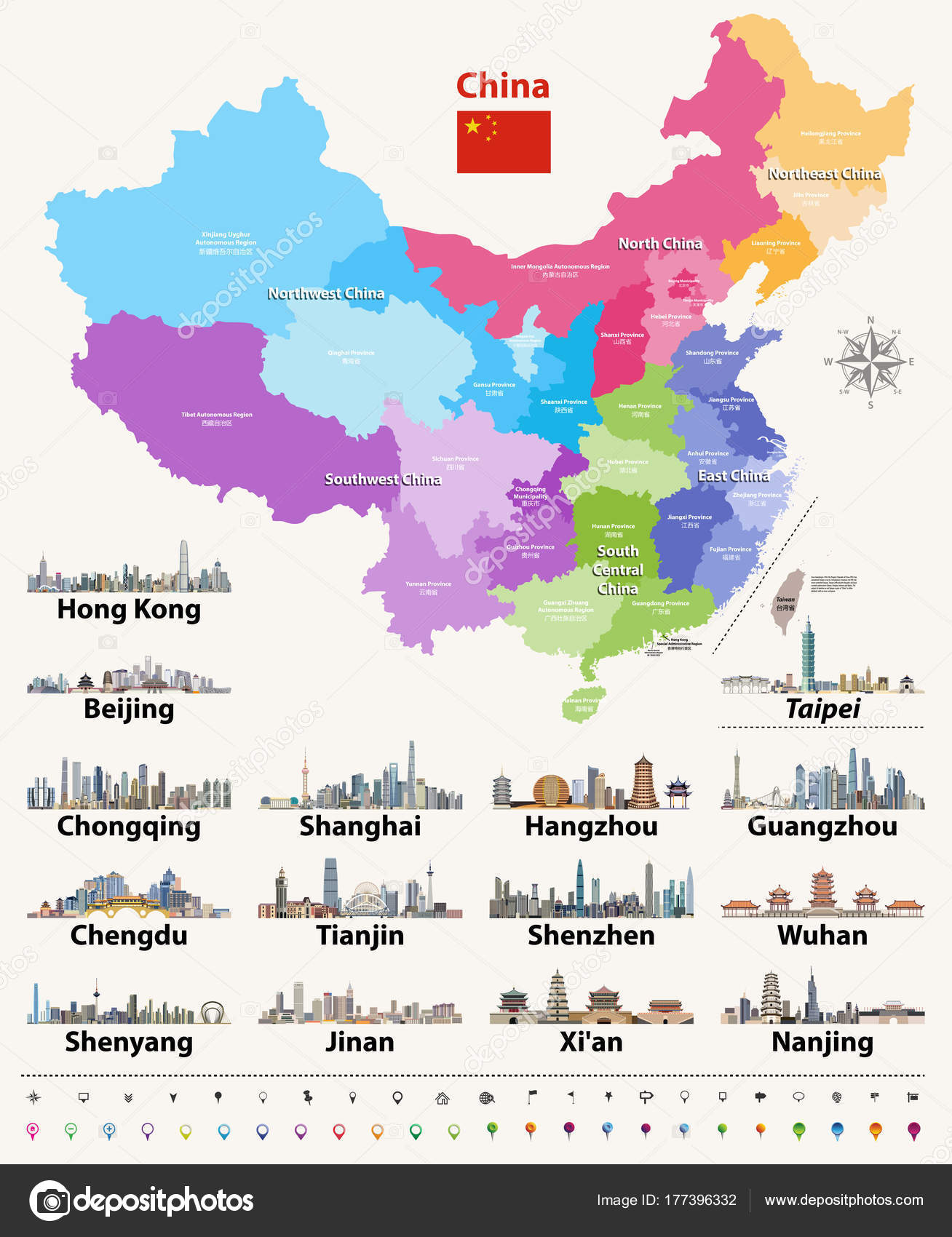 Vector Map China Provinces Colored Regions Stock Vector C Jktu 21
