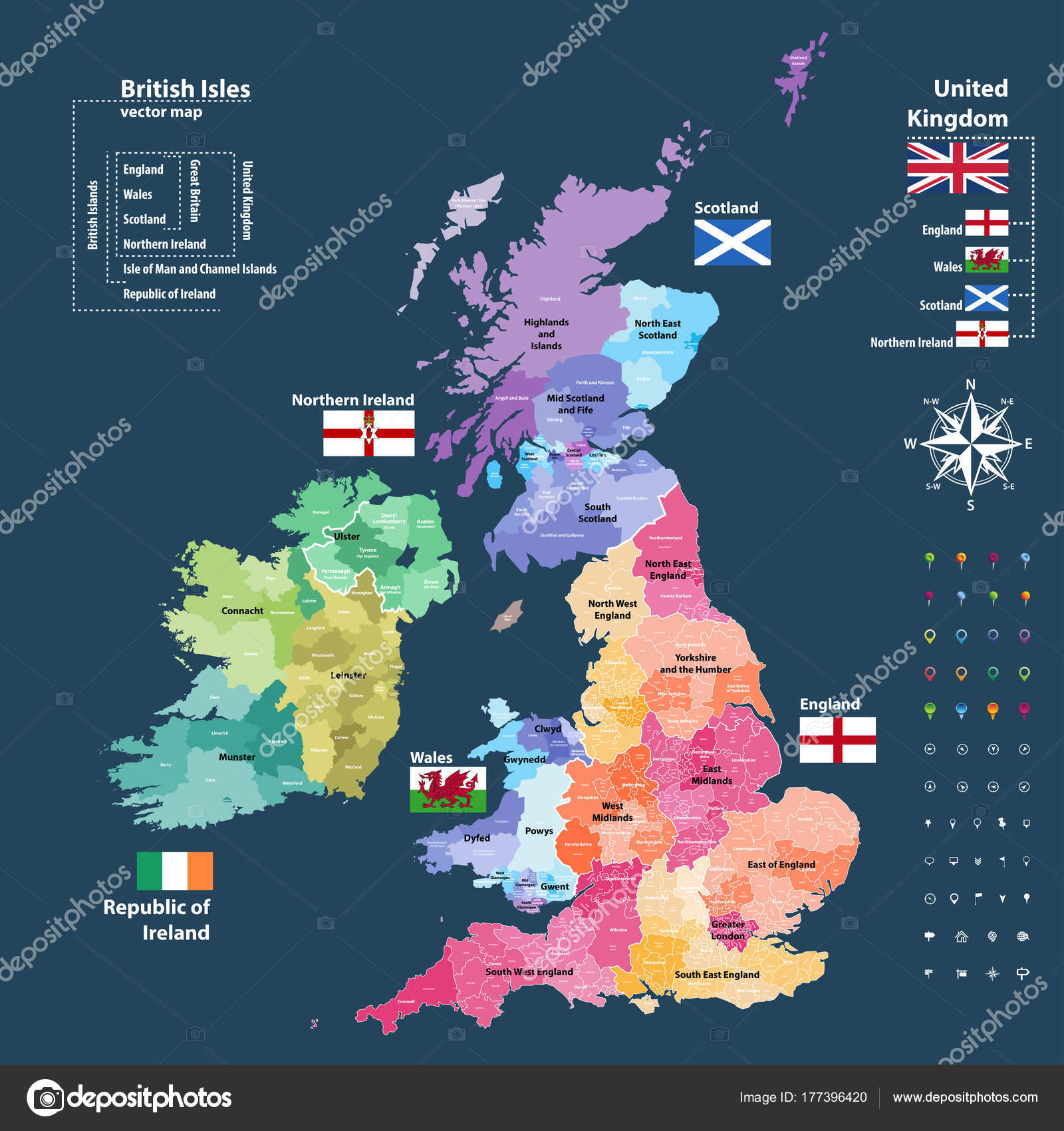Map Of Ireland And Britain.Vector Map British Isles Administrative Divisions Colored Countries