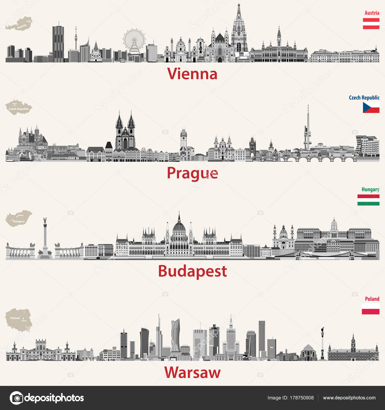 Praga Y Budapest Mapa.Vector Siluetas Viena Praga Budapest Varsovia Mapas Banderas
