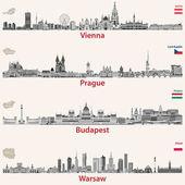 vektorové siluetu města Vídeň, Praha, Budapešti a ve Varšavě. Mapy a vlajky z Rakouska, České republiky, Budapešti a Polsko