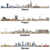 vektorové siluetu města z Vídně, Praze, Budapešti a Varšavě