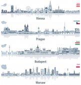 vektorové abstraktní městská panoramata z Vídně, Praze, Budapešti a Varšavě světle blankytnou barvu na paletě. Vlajky a mapy Rakouska, České republiky, Maďarska a Polska