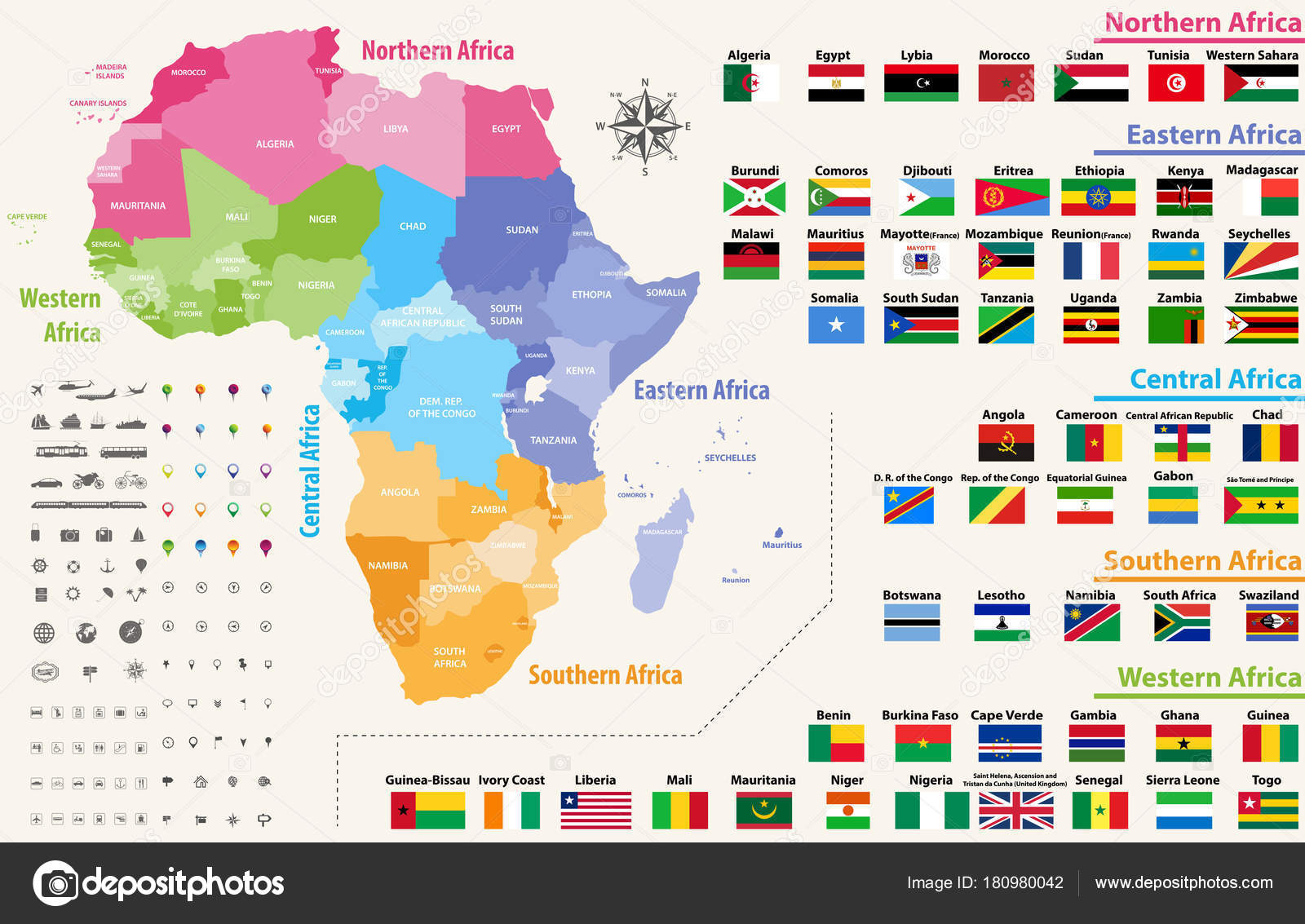 vector map of africa continent colored by regions all flags of african countries arranged in alphabetical order and singled out by regions vector by