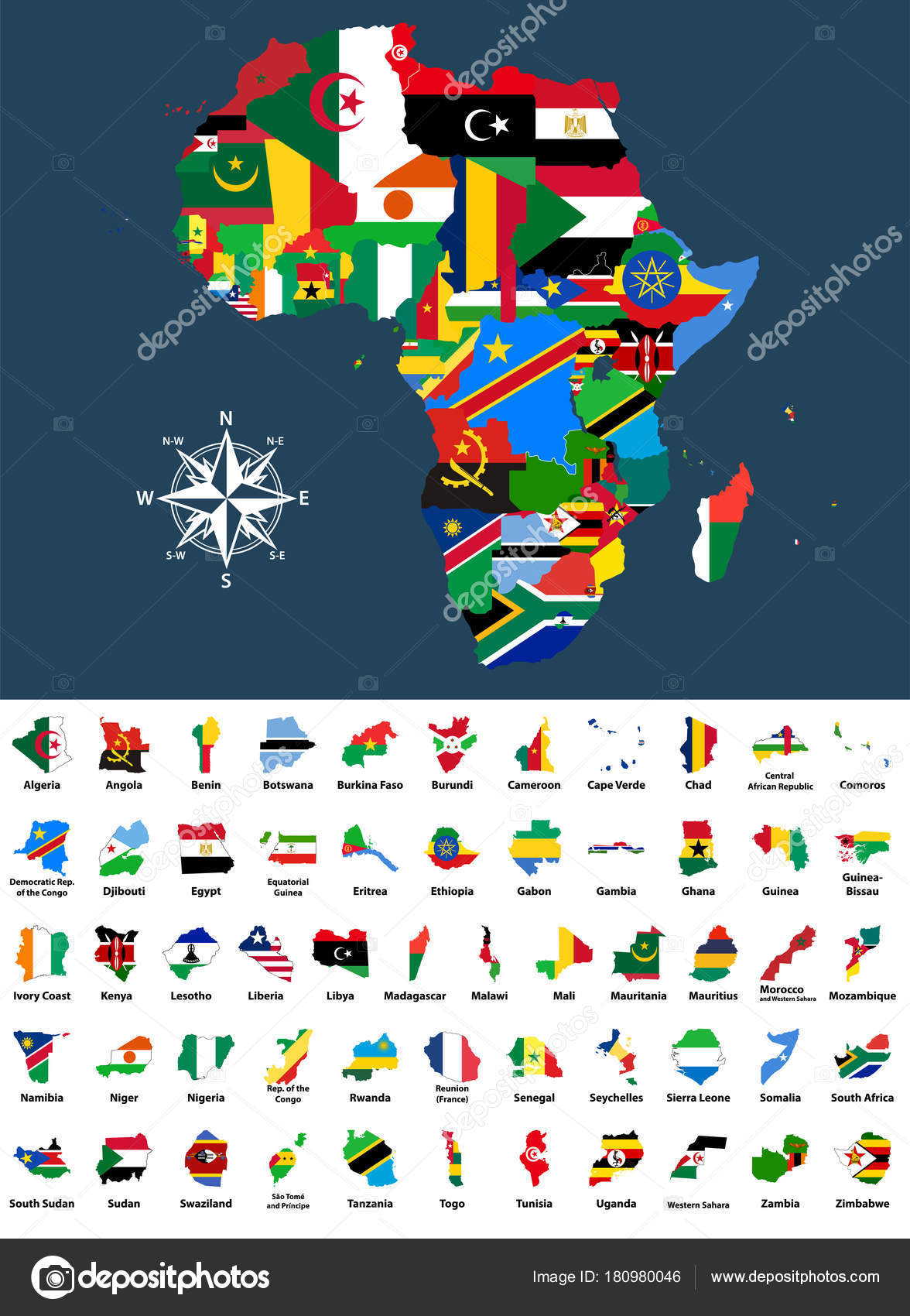 Map Of Africa With Flags.Vector Map Africa Mixed Countries Flags Collection All African Maps