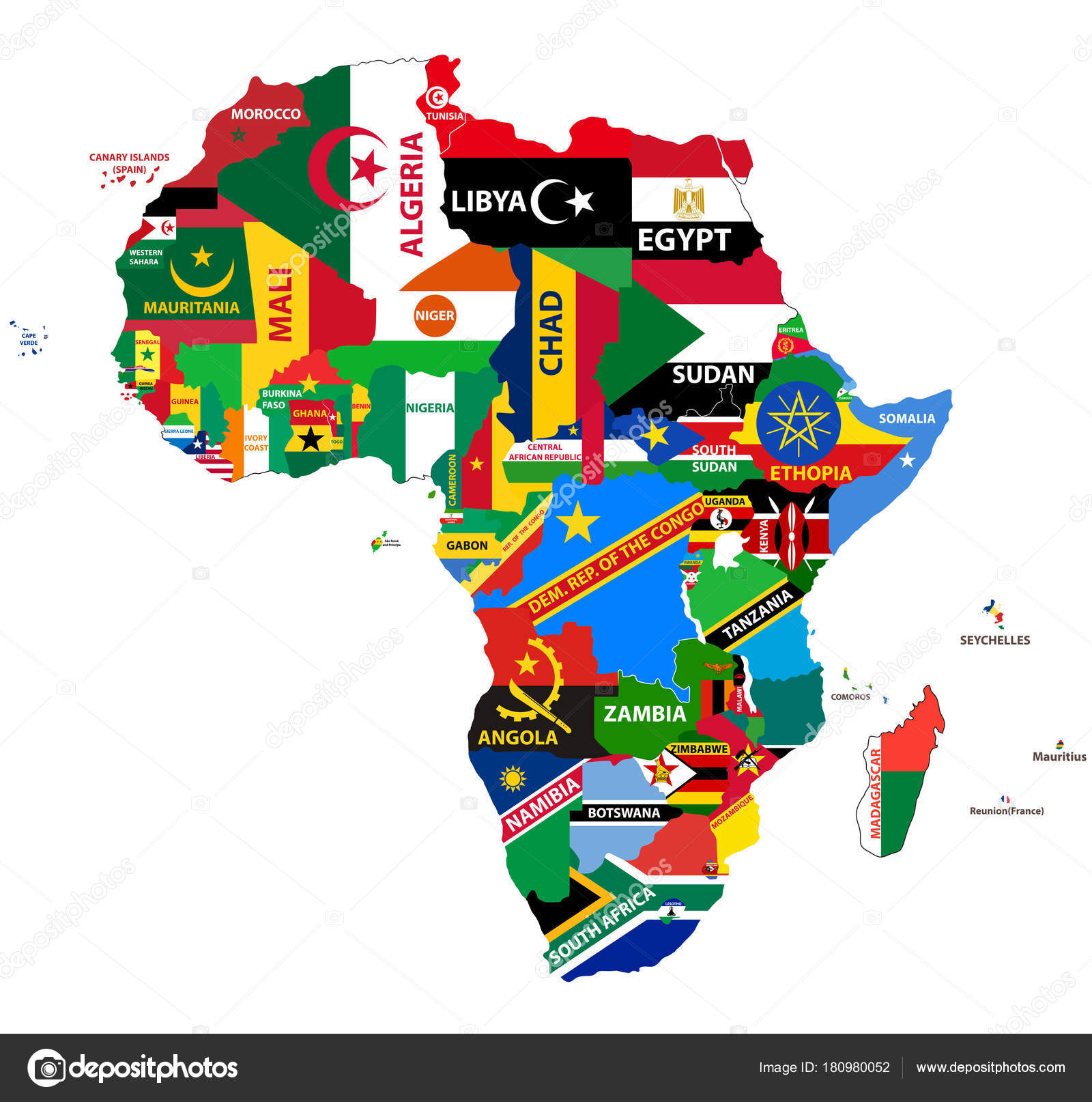 vector political map africa all country flags � stock