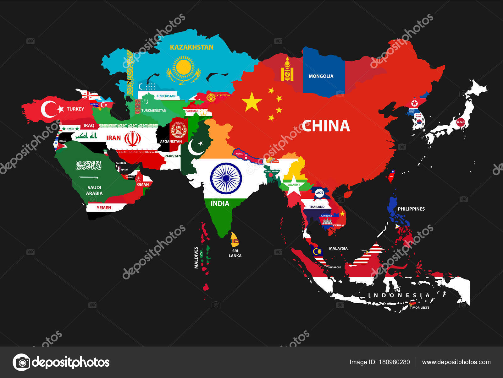 Vector Illustration Asia Continent Map Countries Mixed