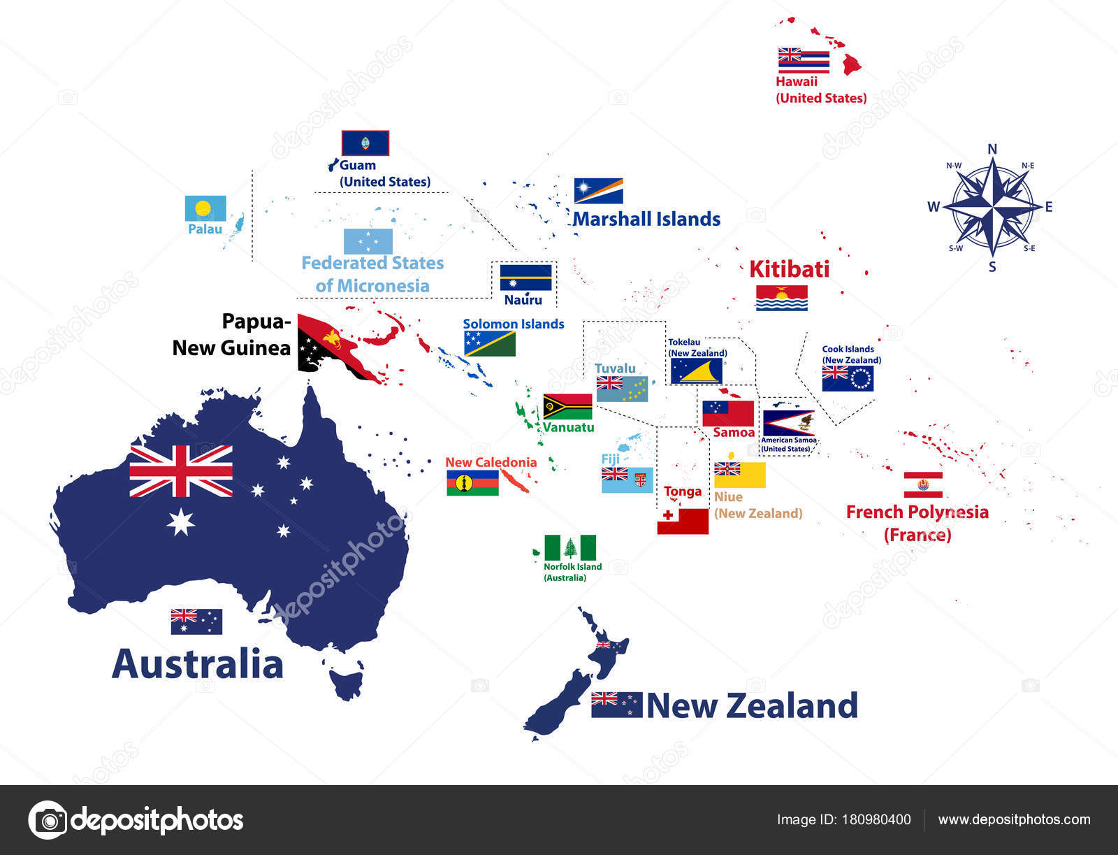Australia oceania region vector high detailed map countries names australia and oceania region vector high detailed map with countries names and national flags vector by jktu21 gumiabroncs Gallery