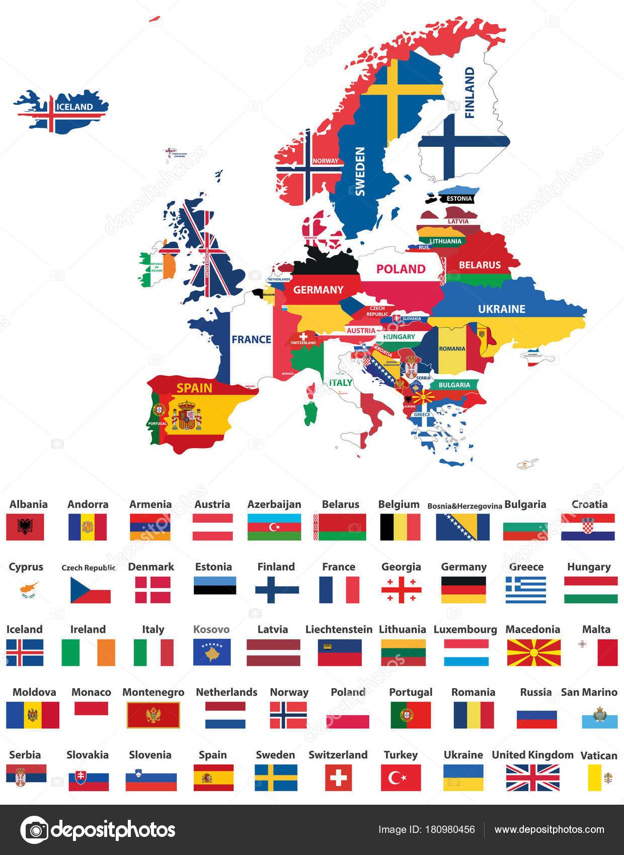 europakarte mit ländern Europakarte Mit Ländern Nationalflaggen Gemischt Alle Europäische  europakarte mit ländern