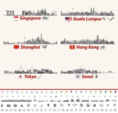 vector abstract city skylines of Singapore, Kuala Lumpur, Shanghai, Hong Kong, Tokyo and Seoul. Maps and flags of Singapore, Malaysia, China,Hong Kong, Japan and South Korea. Location and travel icons