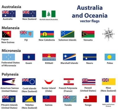 Australia and Oceania (include Australasia, Micronesia, Melanesia and Polynesia) vector countries flags