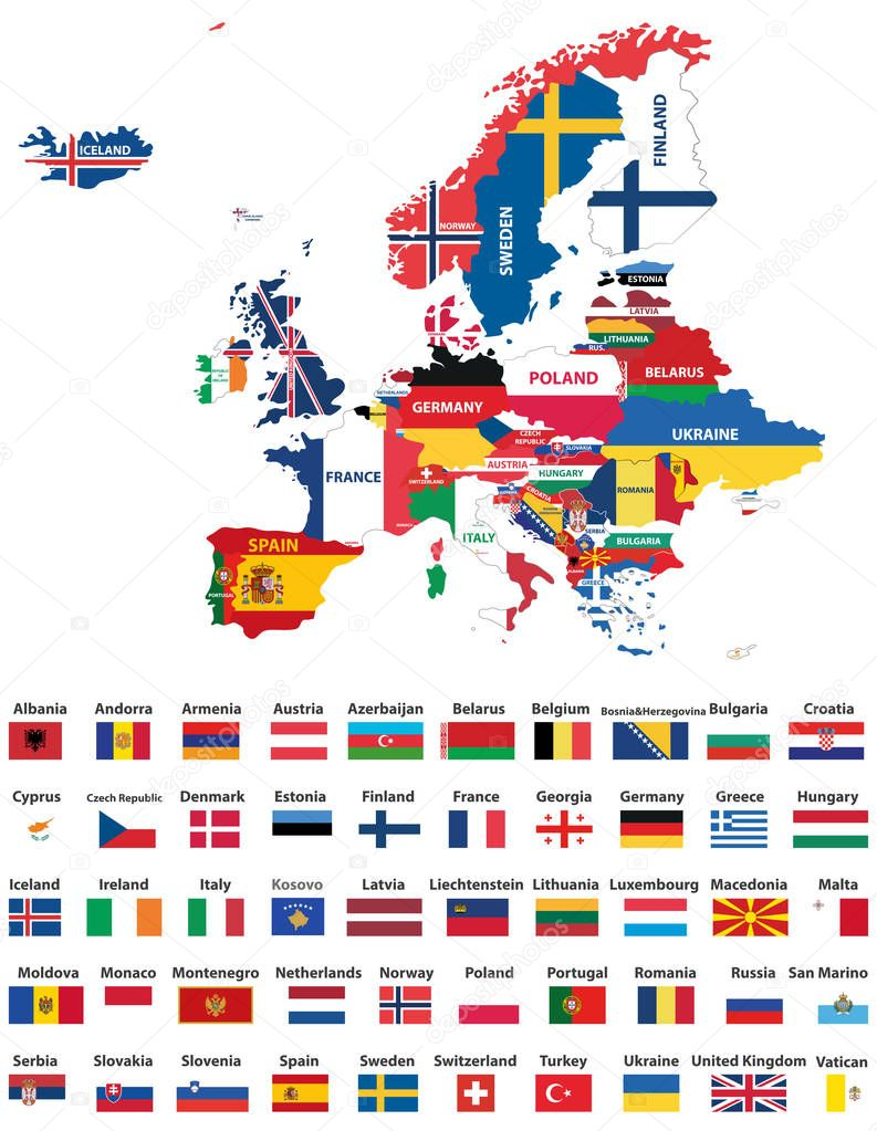 fotos todas las banderas de europa  mapa europa con