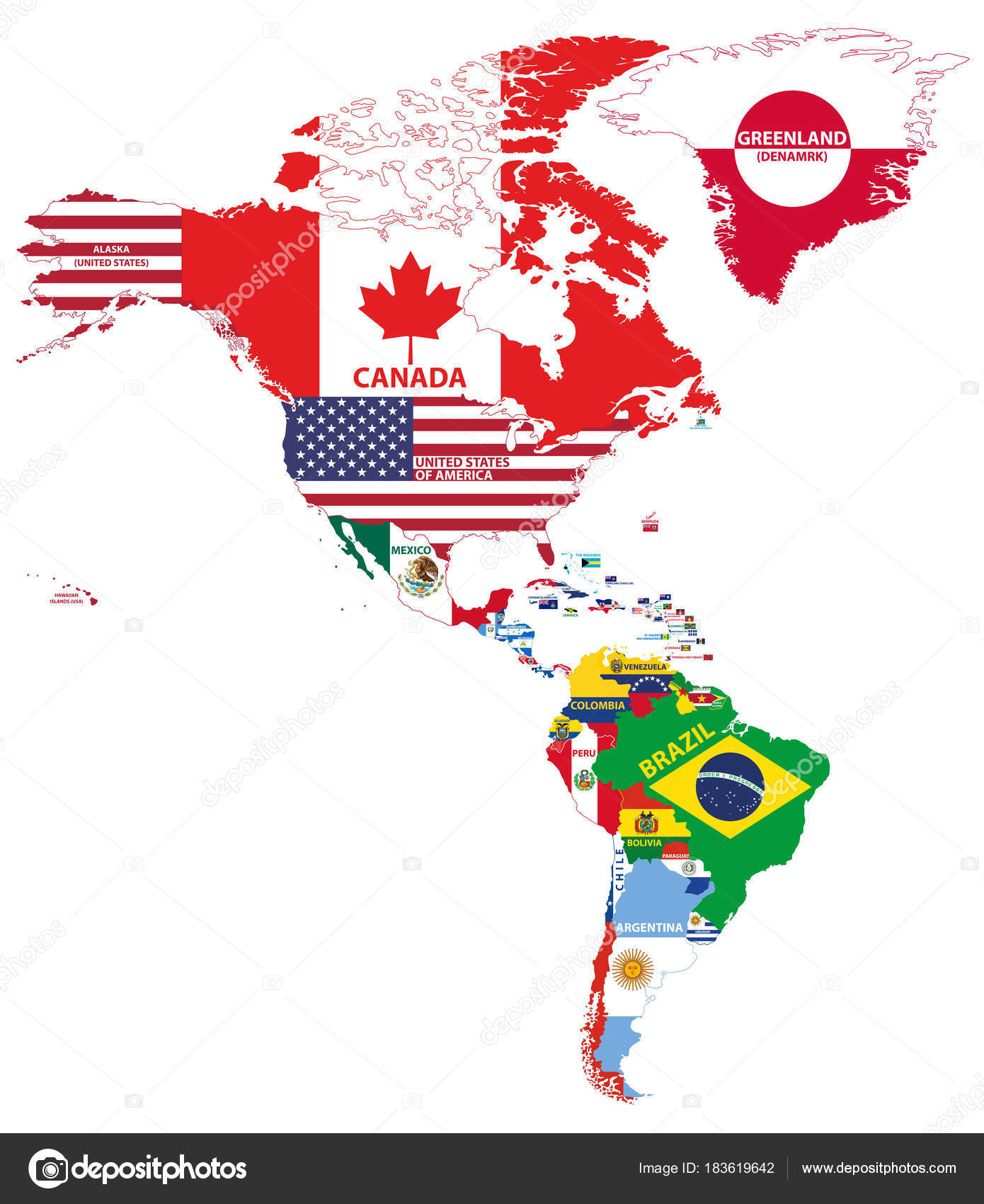 Vector Illustration North South America Map Country Names Flags ...