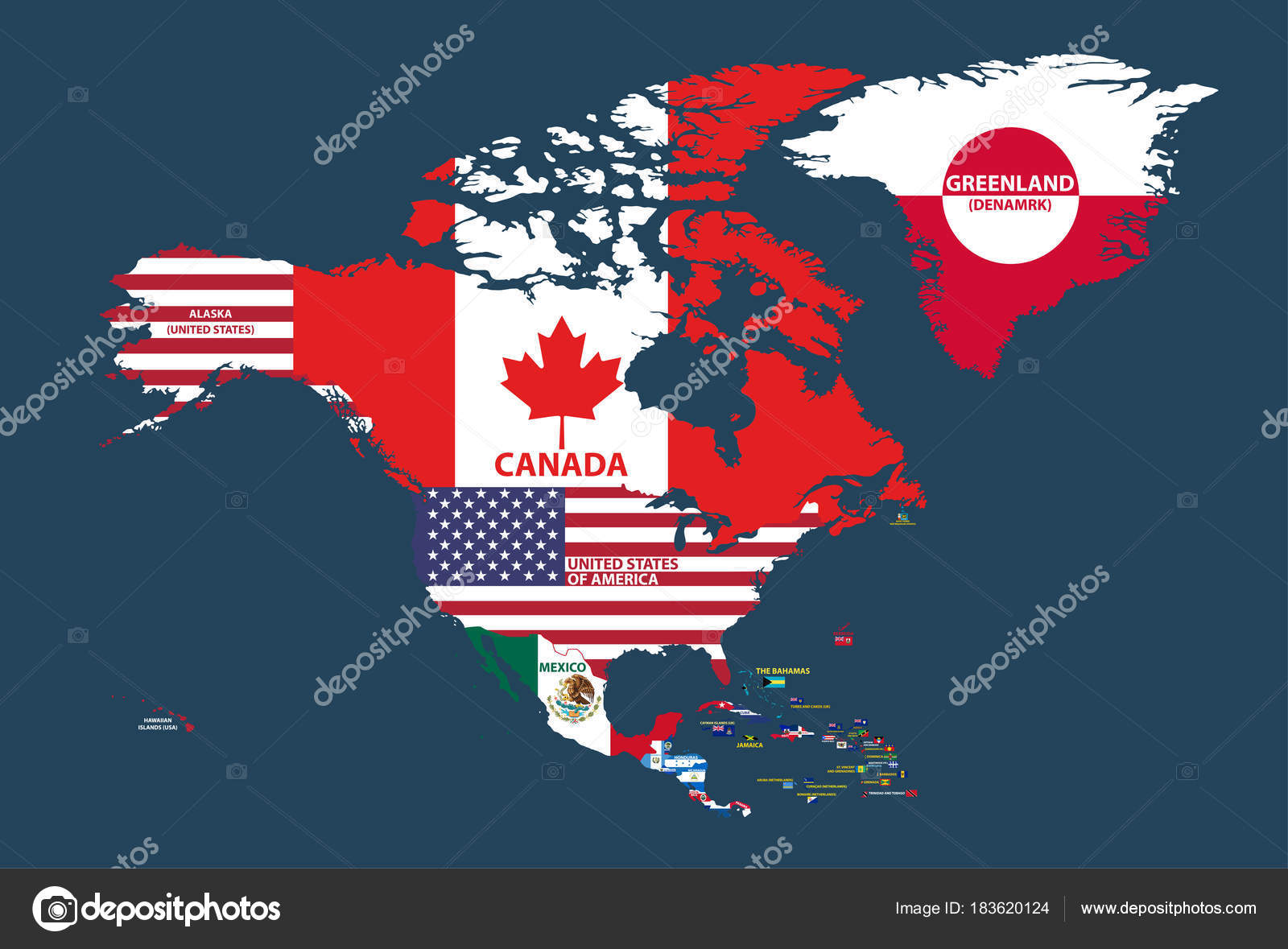 Vector Illustration North America Map Include Northern America