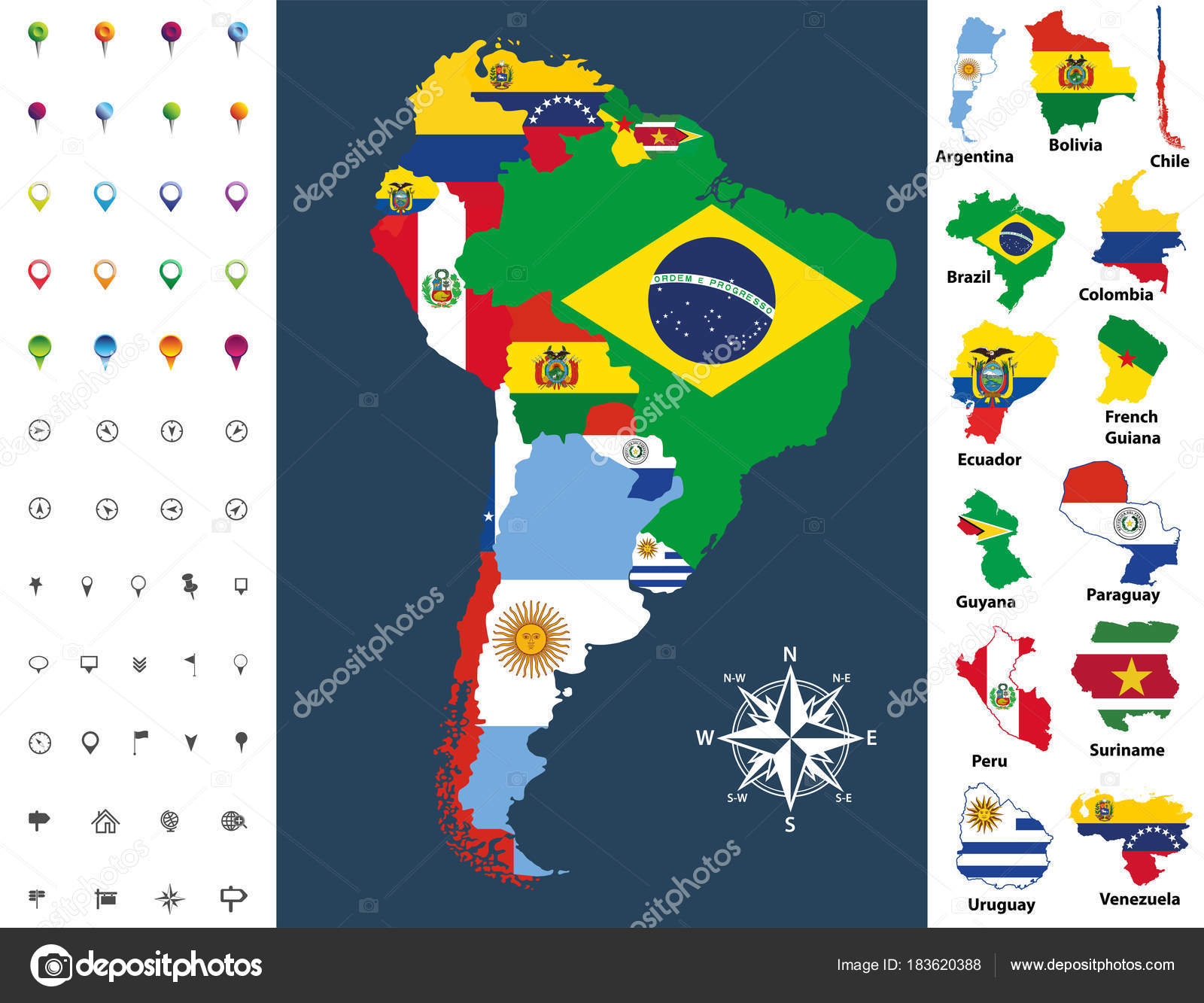 South America Map Mixed Countries Flag Vector Illustration Stock