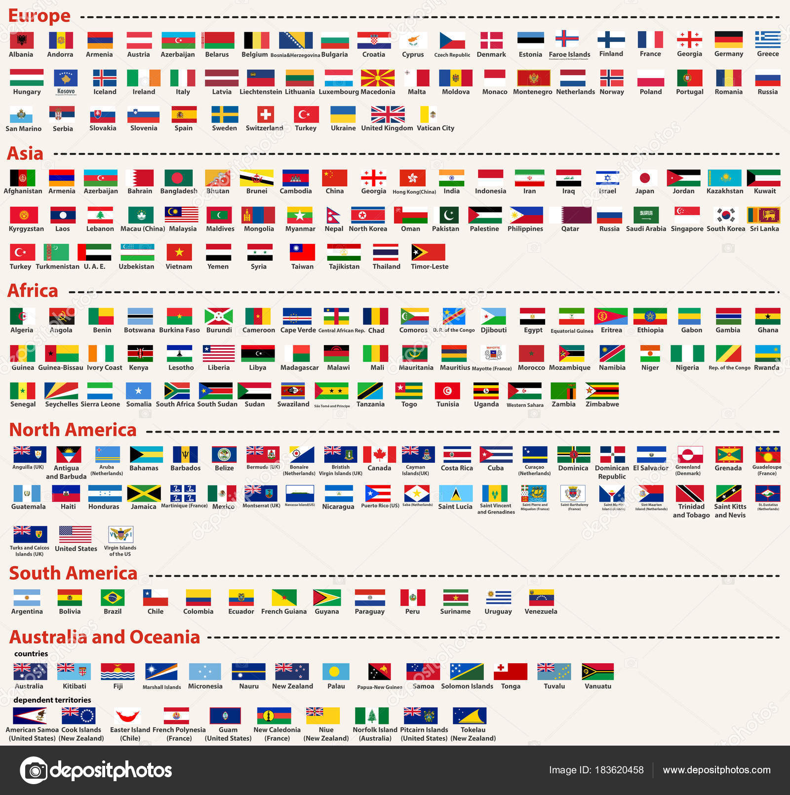 Conjunto vector todas las banderas mundo dispuestas orden alfabtico conjunto de vector de todas las banderas mundo dispuestas en orden alfabtico y sealado por continentes vector de jktu21 urtaz Choice Image