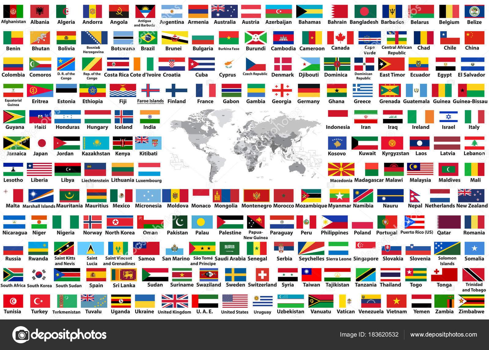 Conjunto Vector Todas Las Banderas Mundo Dispuestas Orden