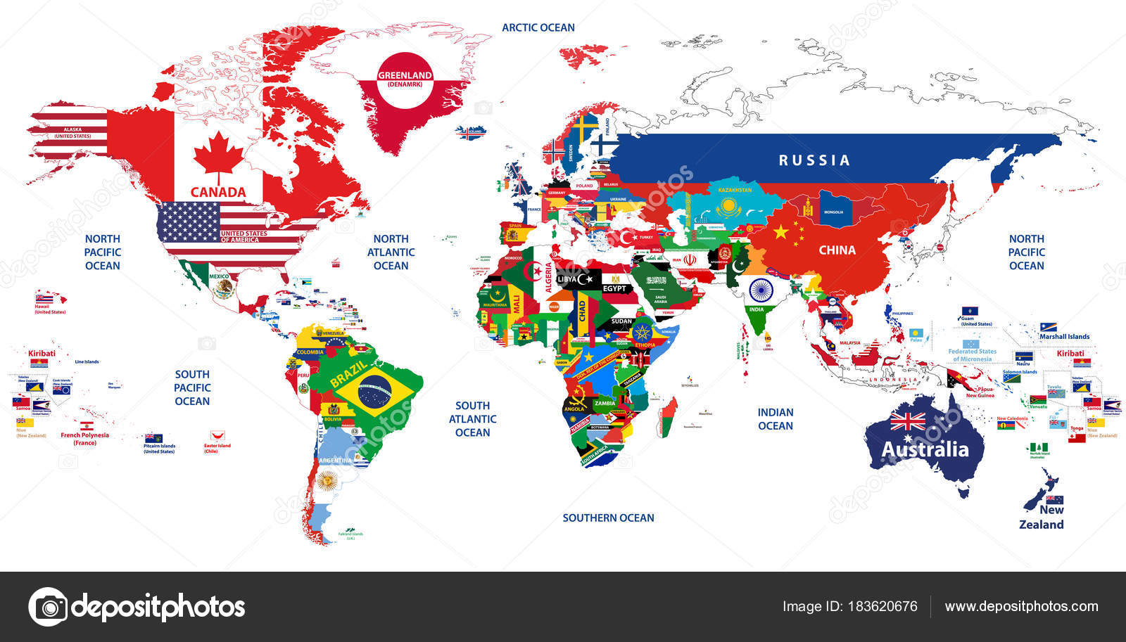 Detailed Map Of The World.Vector High Detailed Illustration Map World Jointed Countries Flags