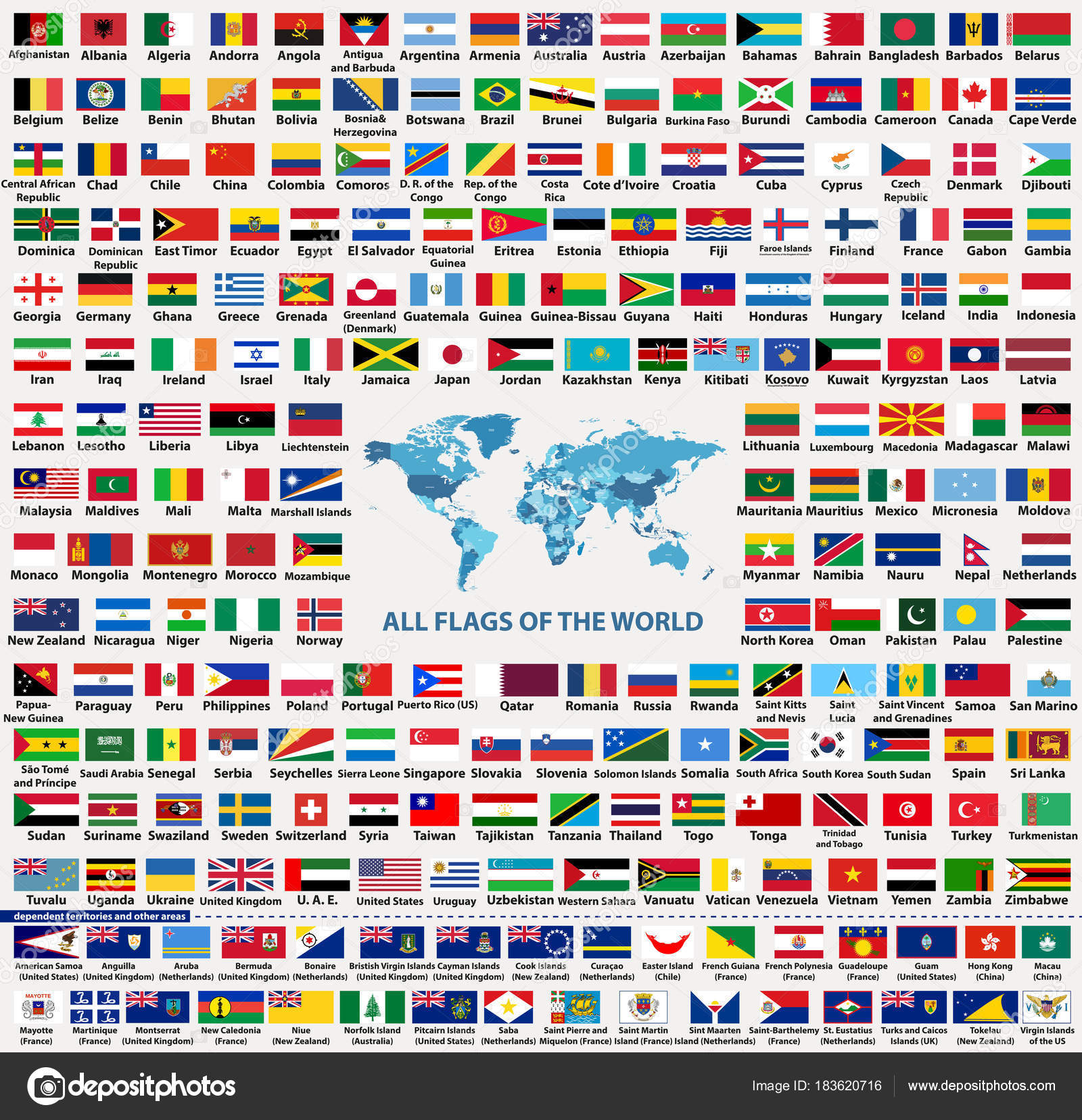 Vector set all world countries flags sovereign states dependent vector set of all world countries flags sovereign states dependent overseas territories and other areas total of 232 flags map of the world with gumiabroncs Choice Image