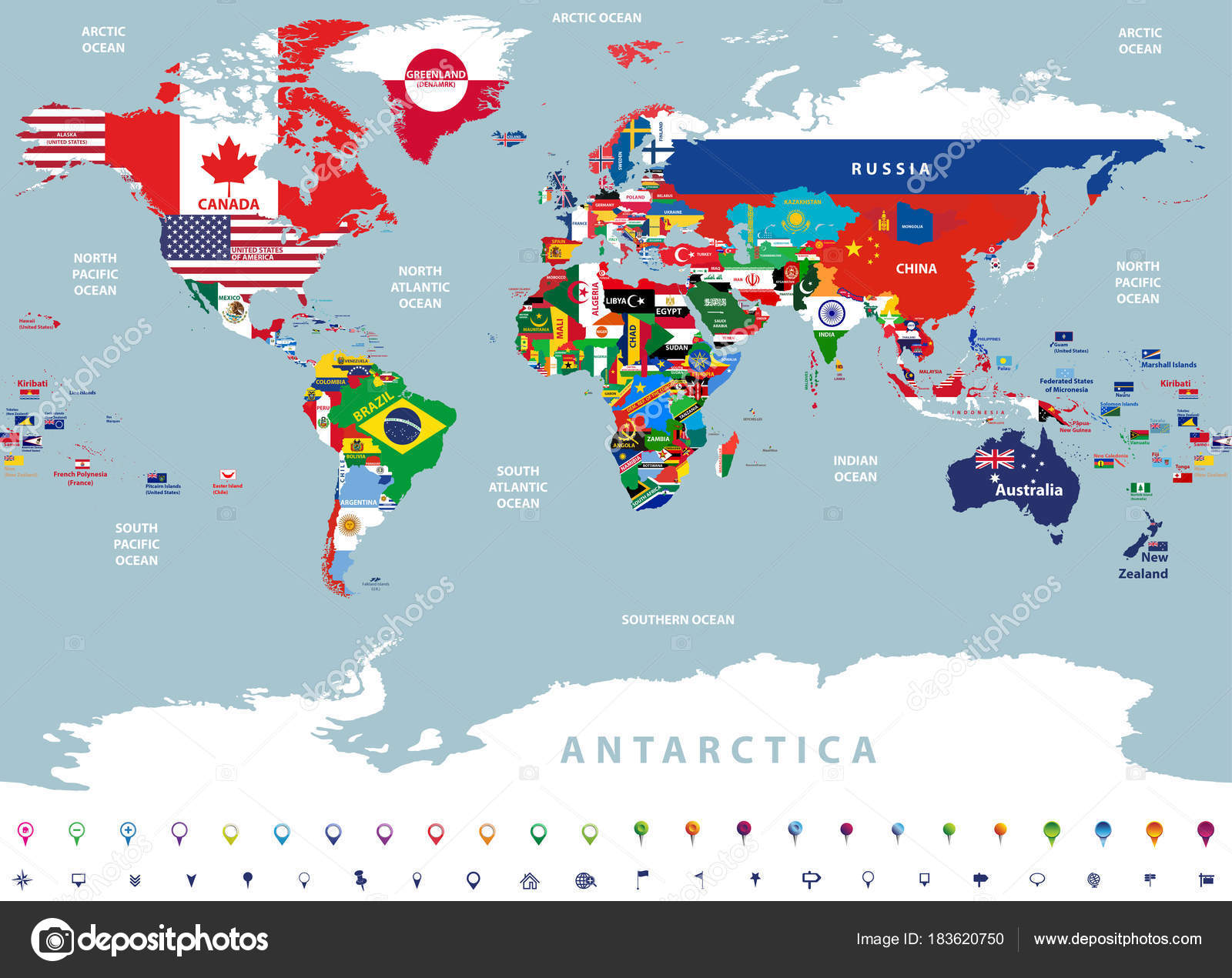 Map Of The World Detailed.Vector High Detailed Illustration Map World Jointed Countries Flags