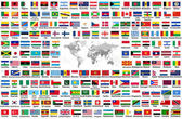 vector set of all world flags arranged in alphabetical order isolated on white background. World map with countries names and borders