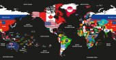vector illustration of world map jointed with national flags with countries and oceans names centered by America