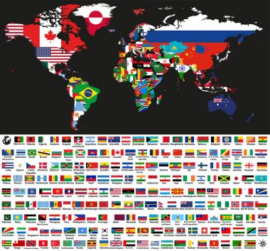 vector abstract world political map mixed with national flags on black background. Collection of all world flags isolated on white background and arranged in alphabetical order