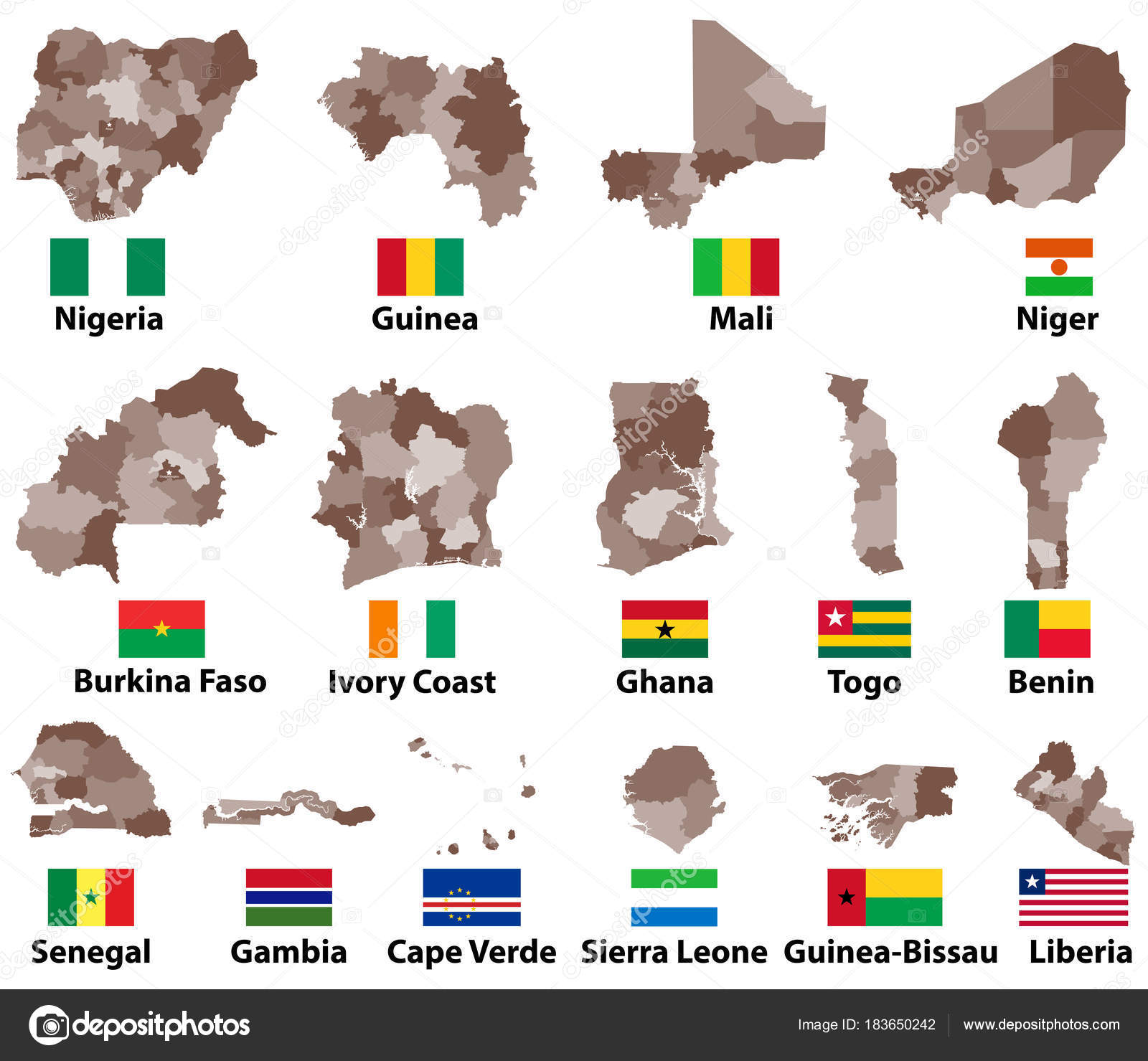 Vector Maps Flags Western Africa Countries Administrative Divisions