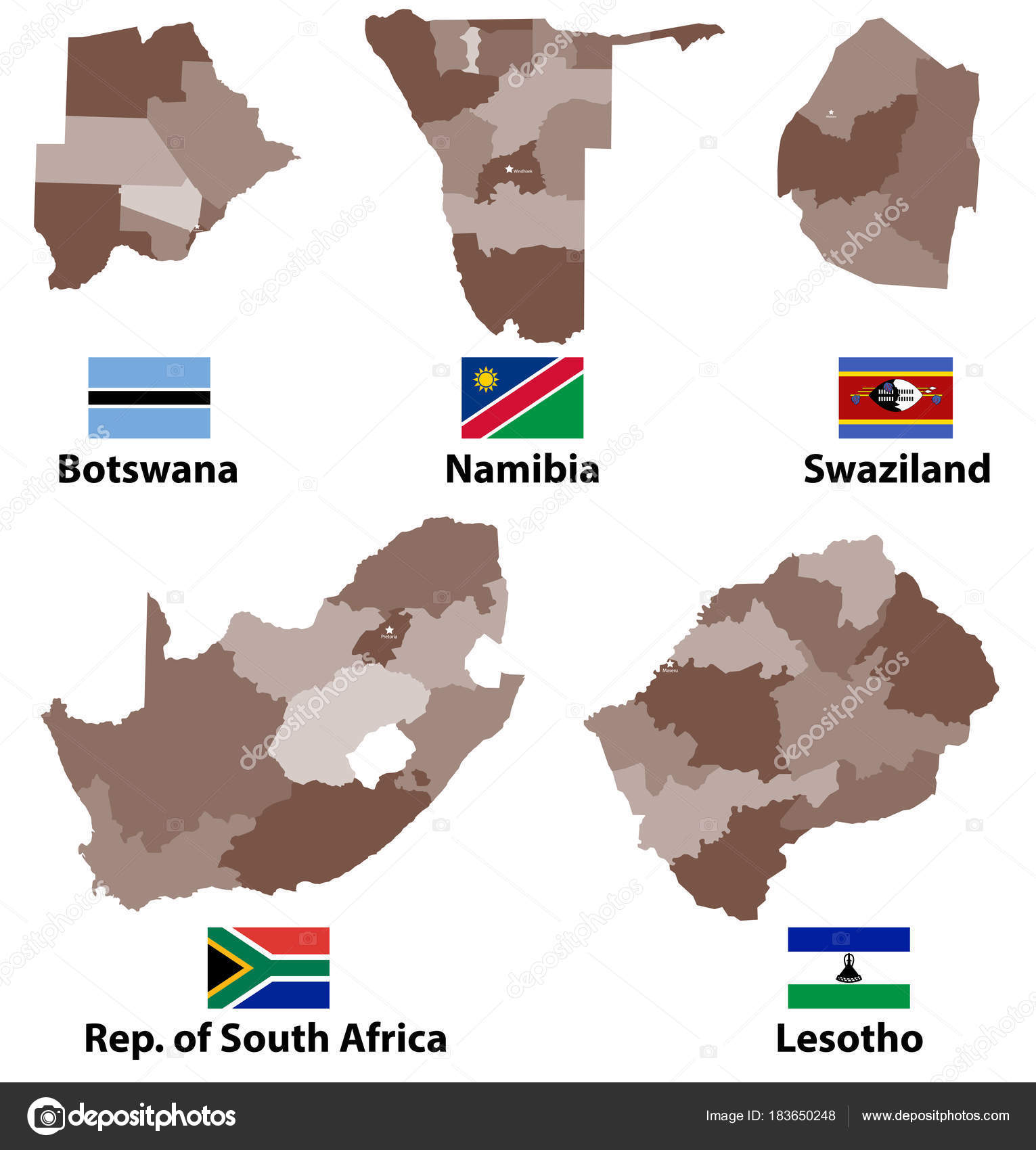 Vector Maps Flags Southern Africa Countries Administrative Divisions ...