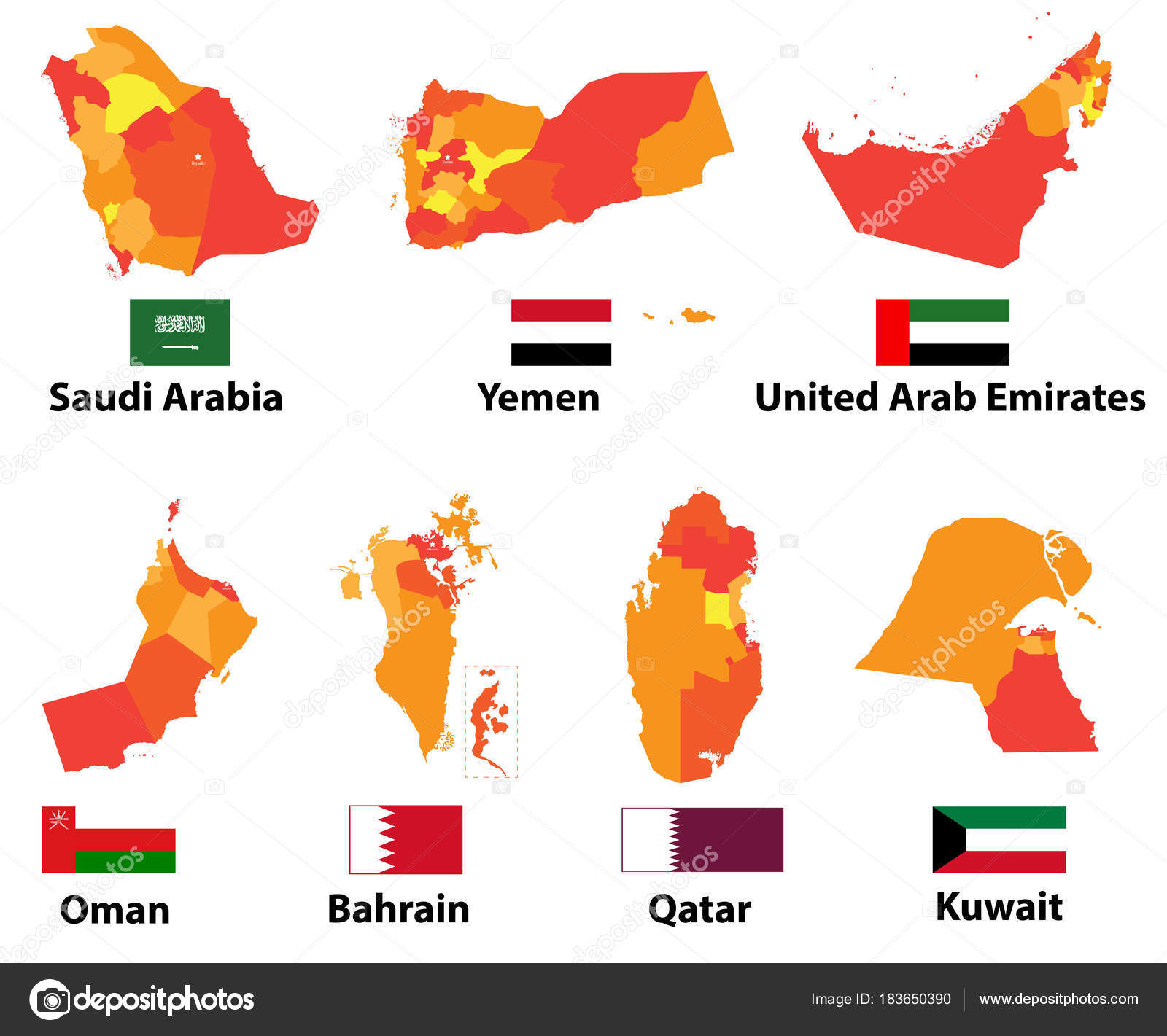 Vector Maps Flags Arabic Countries Administrative Divisions Regions