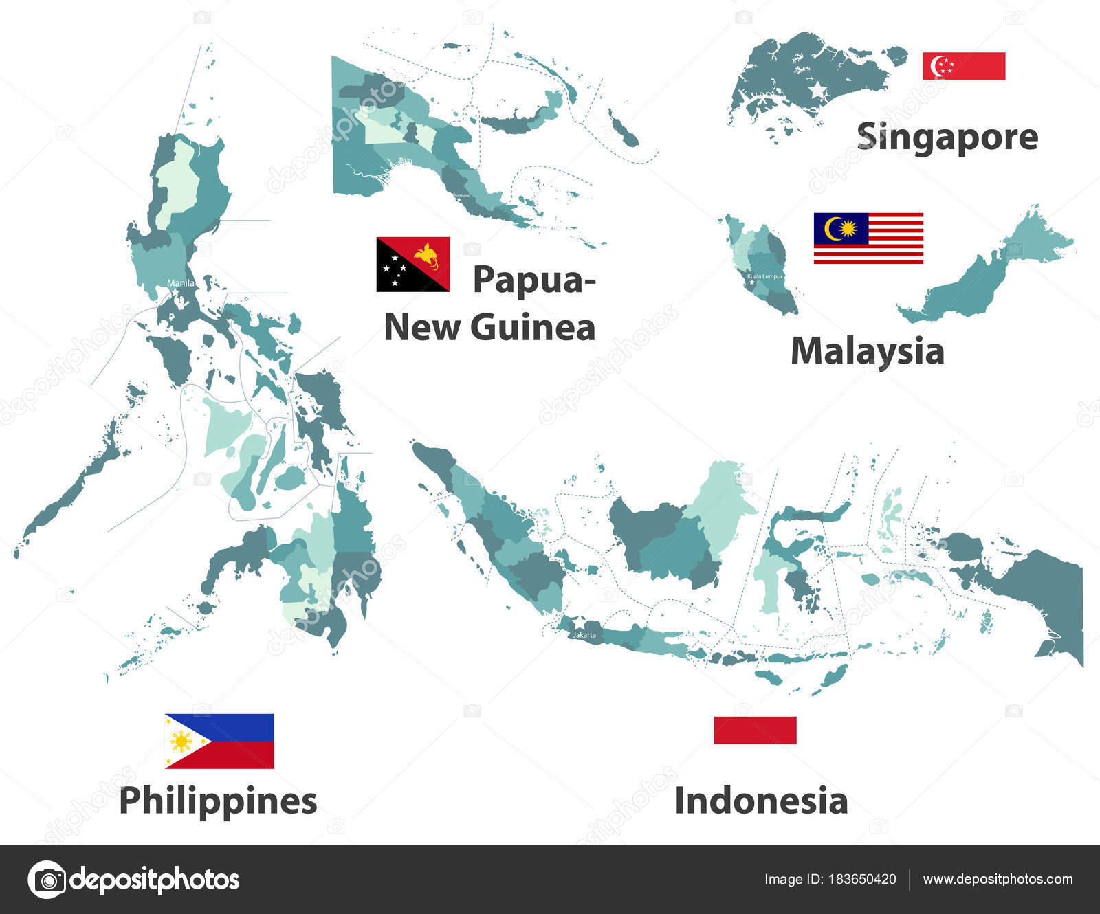 Vector High Detailed Maps Flags Asian Countries Administrative