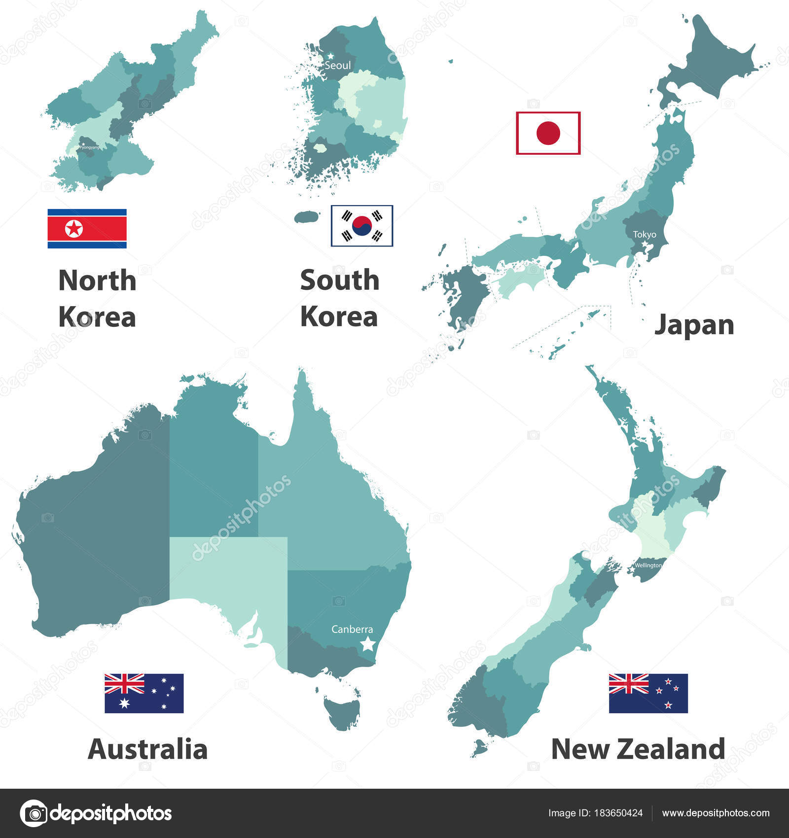 Vector Maps Flags Japan North Korea South Korea Australia New