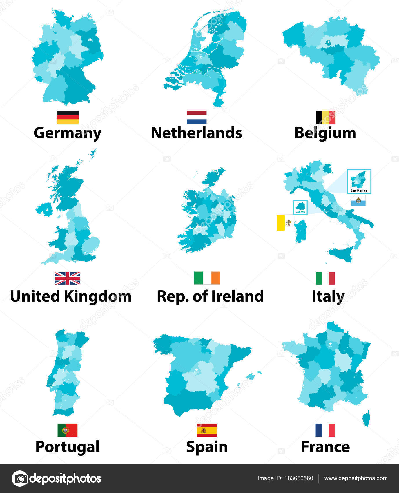 Vector Maps Flags Europe Countries Administrative Divisions ...