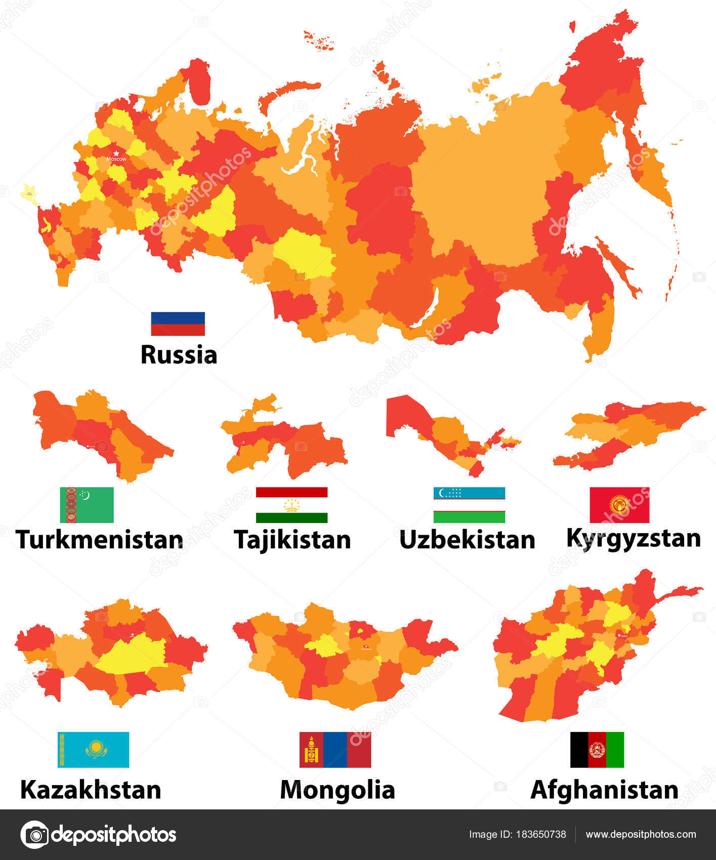 Vector Set Maps Flags Asian Countries Administrative ...