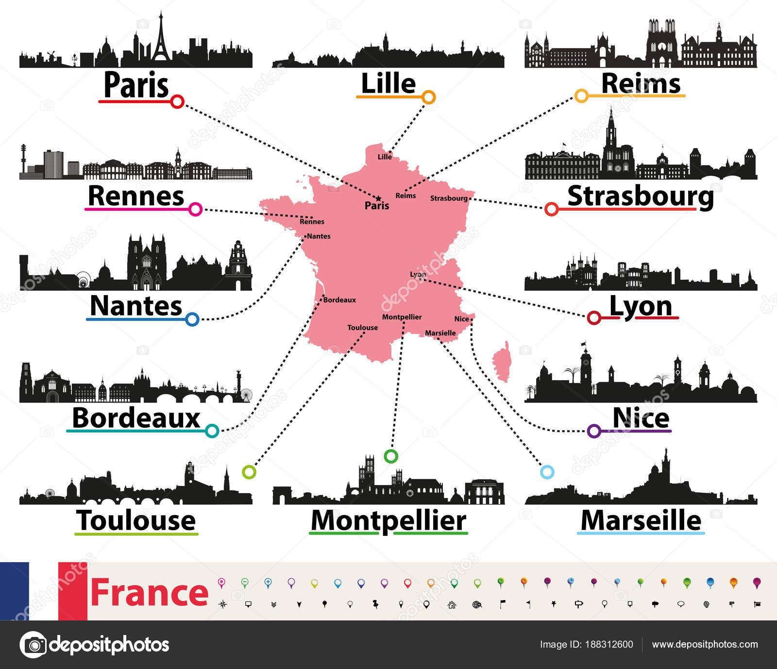 Frankreich Karte Stadte.Frankreich Karte Mit Dem Grossten Stadte Skylines Silhouetten