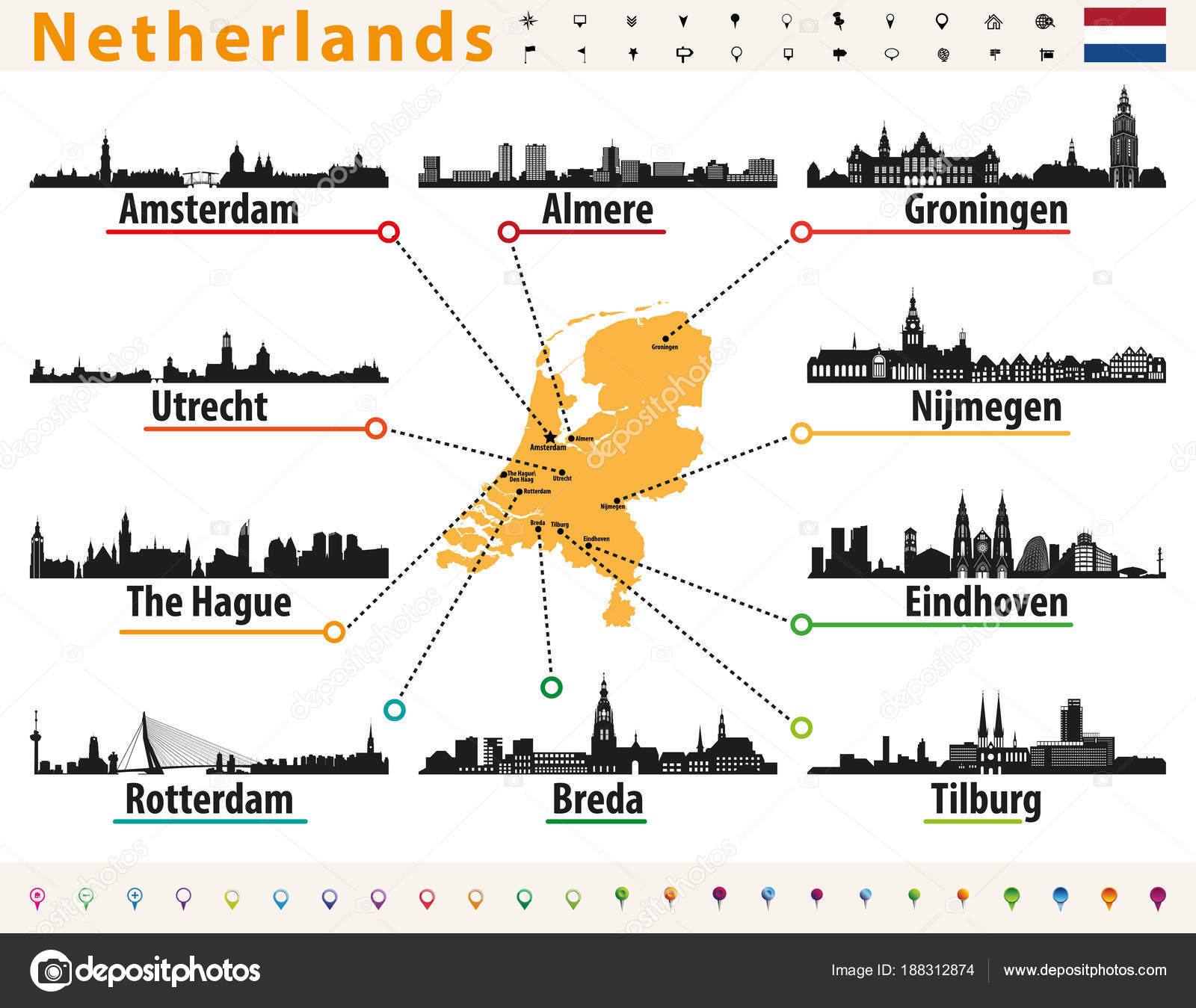 Netherlands Map Largest Cities Skylines Silhouettes — Stock Vector ...