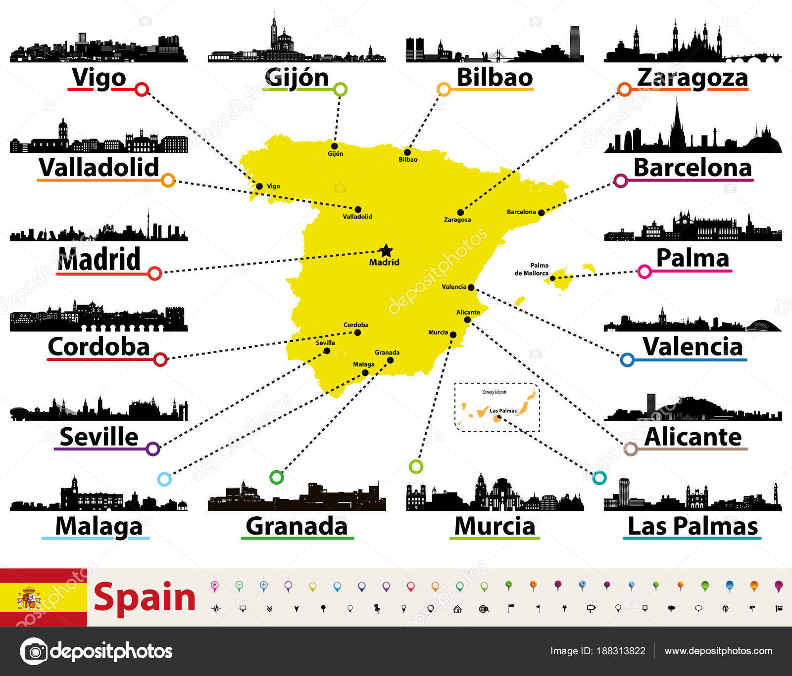 Vector Map Spain Largest Cities Skylines Silhouettes — Stock ... on spain map regions and cities, map of atlantic ocean cities, spain major cities, map of democratic republic of congo cities, map of ussr cities, map of oceania cities, map of latin america cities, map of niger cities, map of the us cities, map of the carolinas cities, pamplona spain map cities, map of palau cities, map of new brunswick canada cities, map of mexican riviera cities, map of guyana cities, map of burundi cities, map of s korea cities, map of kosovo cities, map of islam cities, map europe cities,