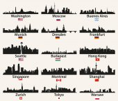 Fényképek vektoros világ city Skyline sziluettek zászlókkal