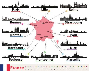 France map with largest cities skylines silhouettes vector set