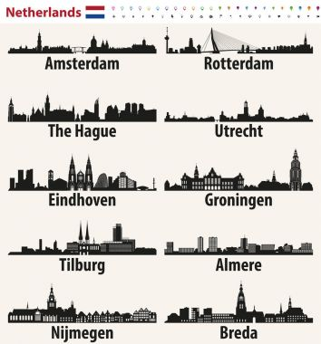 Netherlands largest cities skylines silhouettes