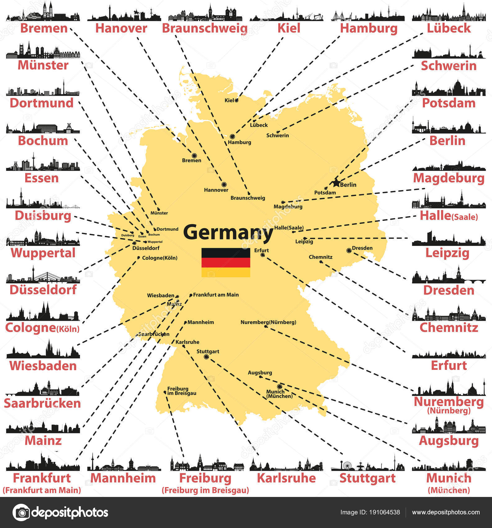 Germany Vector Map States Capitals Largest Citites Skylines ...