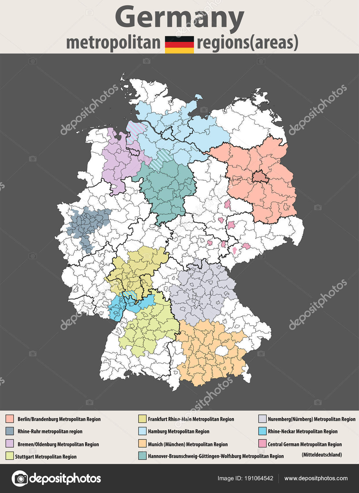 Vector High Detailed Map Germany Metropolitan Regions Areas Stock