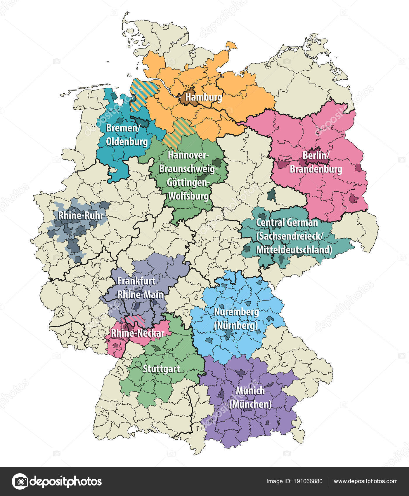 Regions Of Germany Map.Germany Metropolitan Regions Vector Map Stock Vector C Jktu 21
