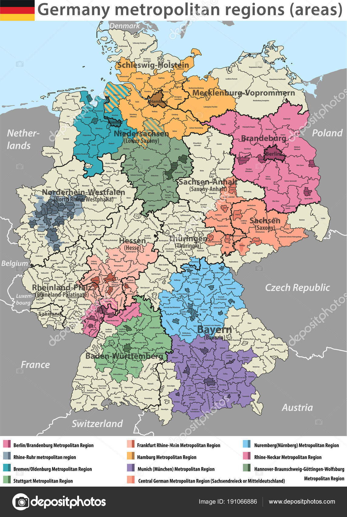 Vector High Detailed Map Germany Metropolitan Regions Areas — Stock ...