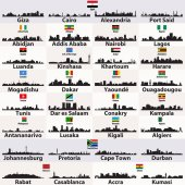Fotografie vector set of african cities abstract skylines silhouettes