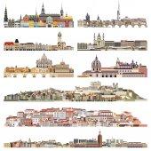 Fényképek vektor városképeket városok régi történelmi részének