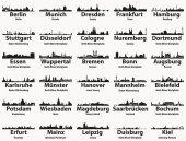 Deutschland größte Städte Skylines Silhouetten Vektor-Set