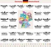 Fotografie Deutschland Karte mit größten Städte Skylines Silhouetten Vektor eingestellt
